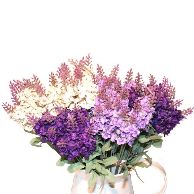 Distinctive Glorious Garden Silk Flower Centerpiece At Petals: Artificial Lavender Silk Flower Bouquet - Cream -