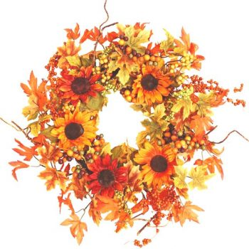 Artificial Maple Leaves Sunflower Wreath