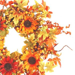 artificial-autumn-leaves-sunflower-wreath