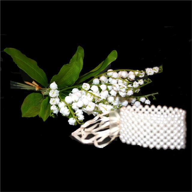 White Pearl Corsage Bracelet Wedding Prom Ball Wrist Corsage