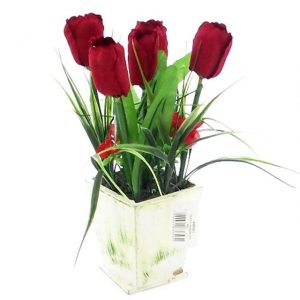 artificial-red-tulips-in-wooden-planter