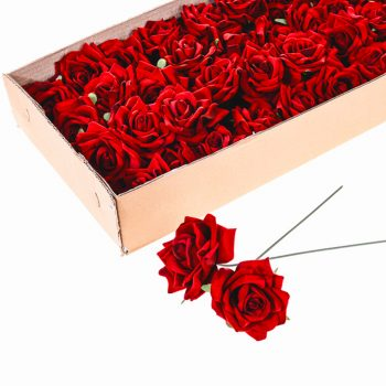 Artificial Wired Velvet Rose Red