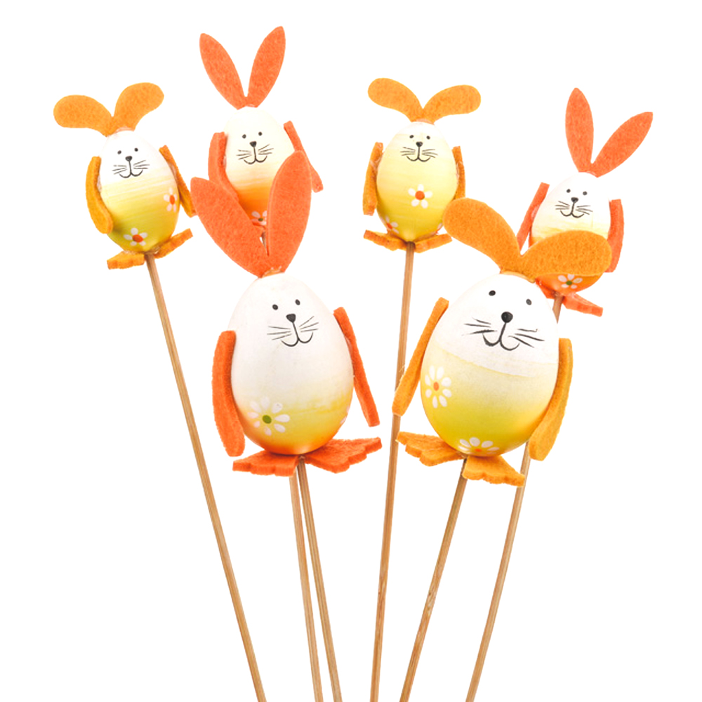 Pack Of 6 Easter Egg Bunny Picks On A Wooden Stick