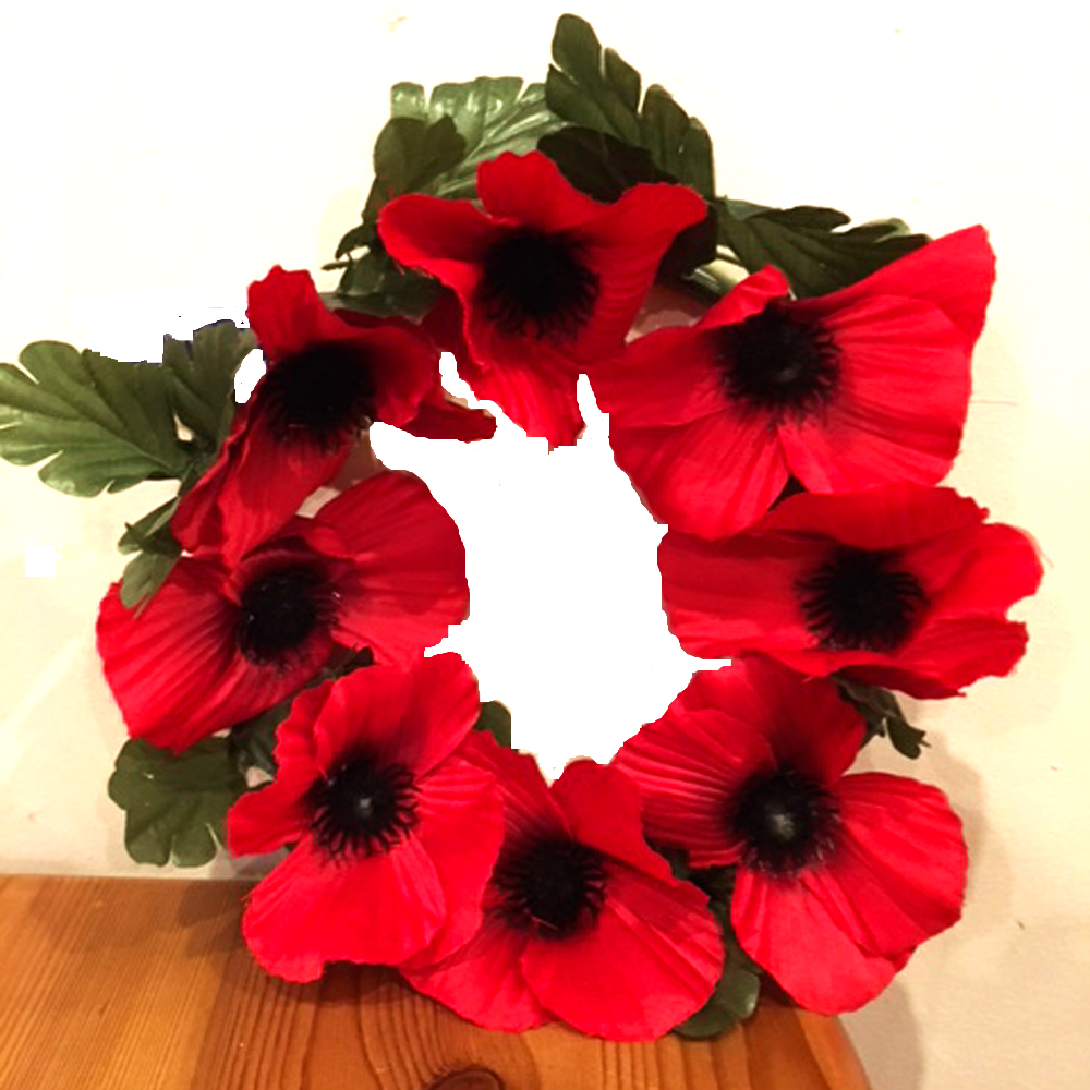 Artificial poppy wreath 25cm diameter with 8 flowers shelf edge artificial poppy wreath 25cm diameter with 8 flowers mightylinksfo