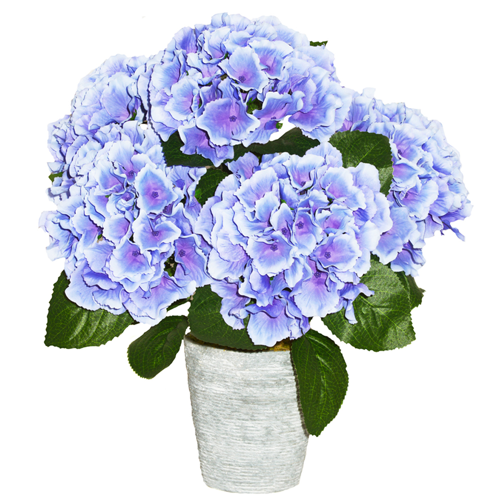 Stunning Blue Hydrangea Artificial Potted Plant With Lifelike Silk