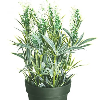 28cm Artificial Potted Lavender White