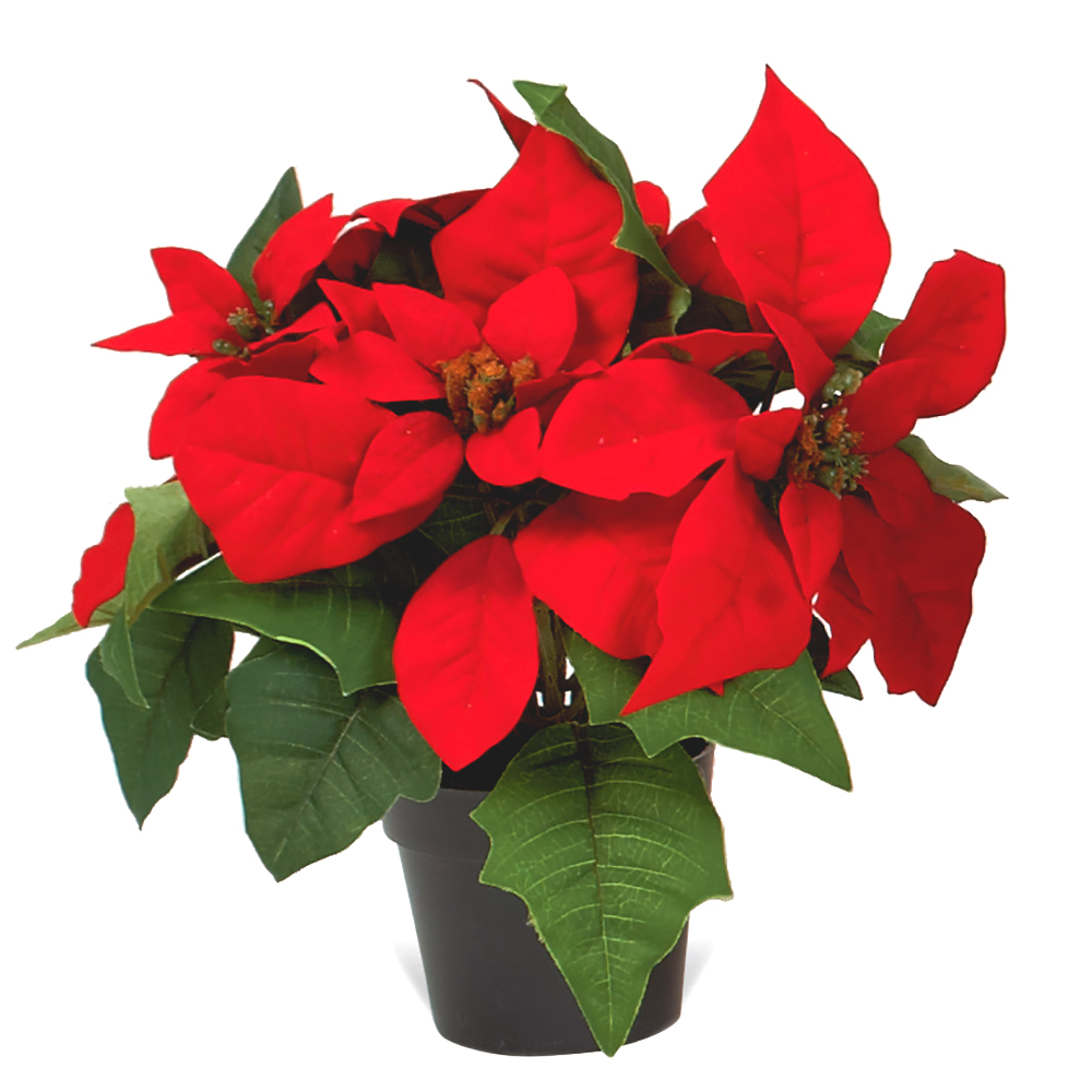 Artificial Poinsettia Plant in Round Pot Red