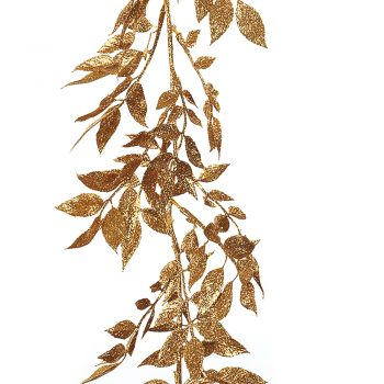 180cm Artificial Glitter Gold Leaf Garland