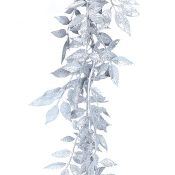 180cm Silver Glitter White Ash Garland