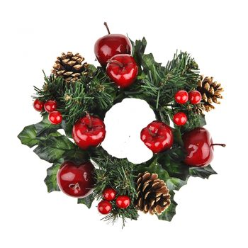 Artificial Candle Ring with Apples Pine Cones and Berries