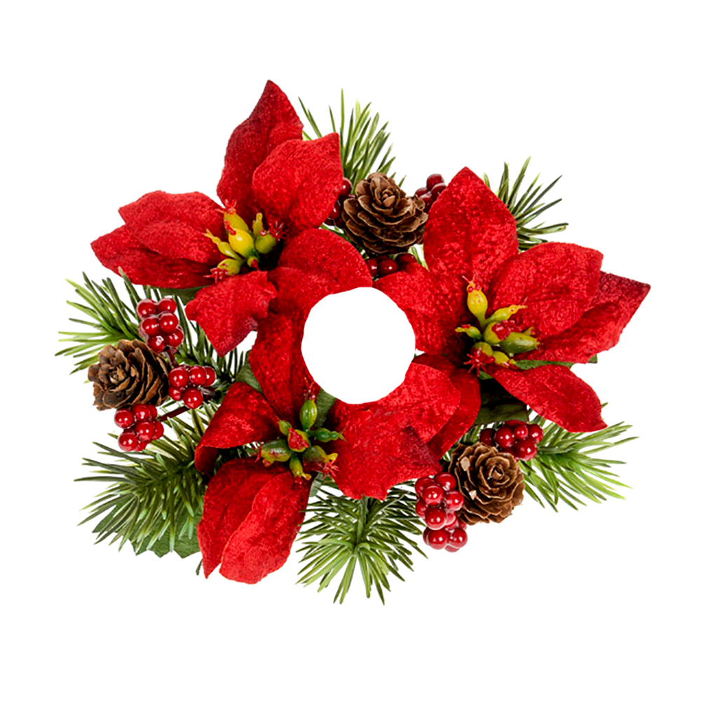 Candle Ring With Red Poinsettia Flowers Berries And Pine