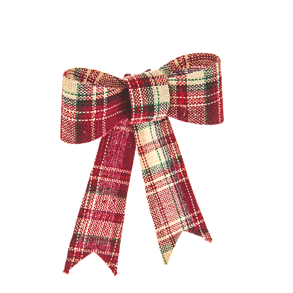 christmas tartan plaid bow red13cm shelf edge. Black Bedroom Furniture Sets. Home Design Ideas