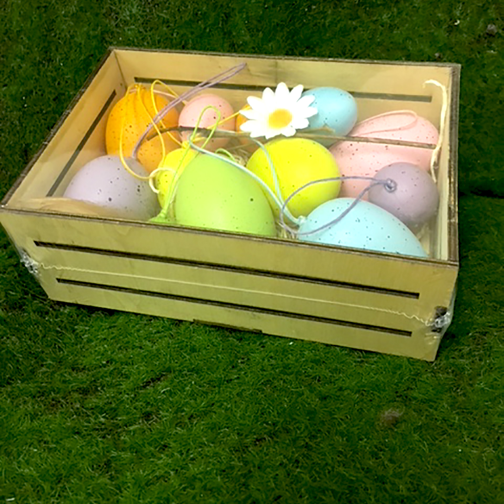 Easter Eggs Crate With Coloured Plastic Eggs Shelf Edge