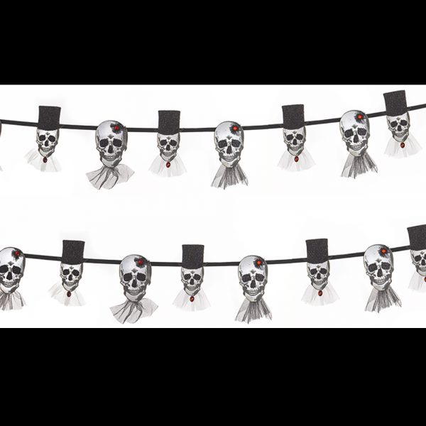 Halloween Garland with Skeleton Bride and Groom