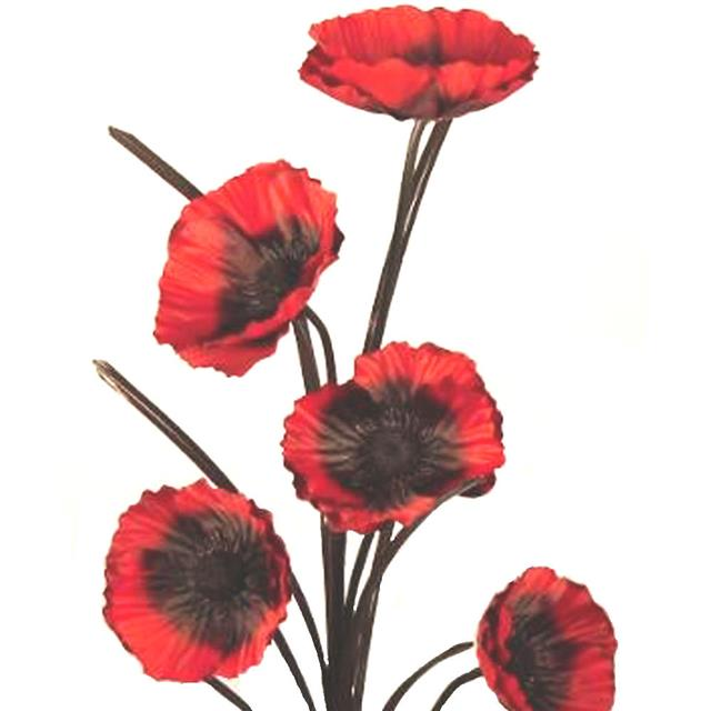 Artificial Exotic Silk Poppy Flower Stem Red Shelf Edge