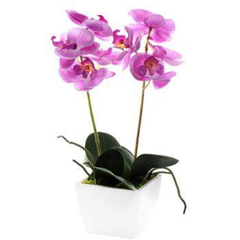 Artificial Potted Pink Orchid Plant