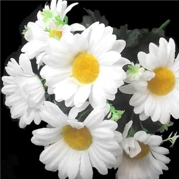Artificial White Daisy Gerbera Flower Bush with leaves