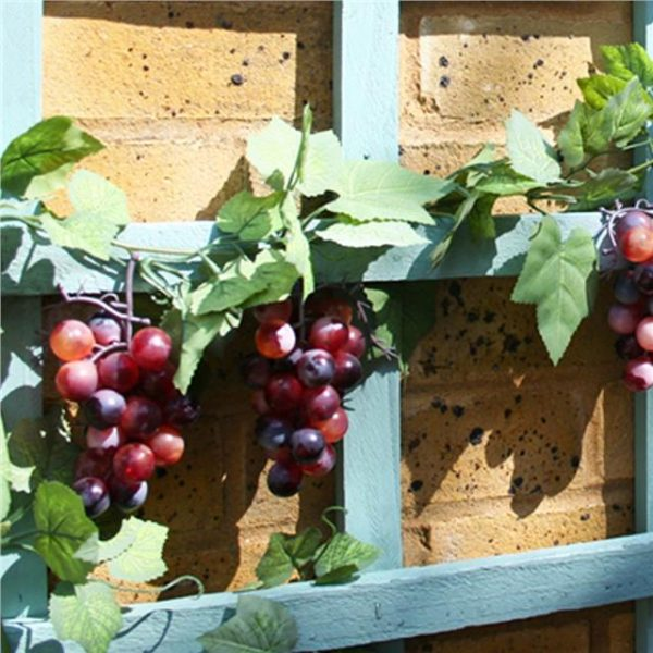 grapes and foliage on an artificial grape garland