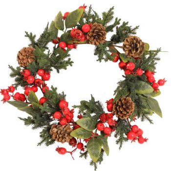 Artificial Red Berries and Fern Pine Wreath