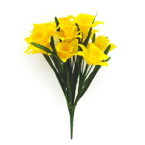 46cm artificial daffodil bush with green foliage