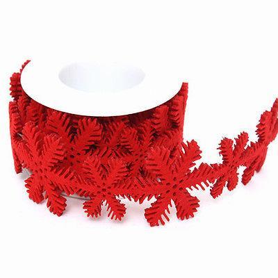 Christmas Ribbon.1 8m Felt Snowflake Ribbon Red Christmas Ribbon