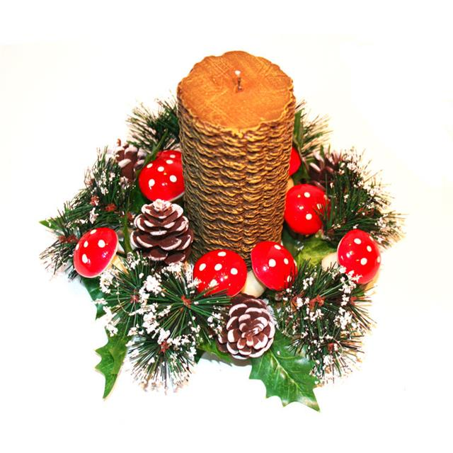 Christmas Candle Rings.Candle Ring With Pine Cones And Mushrooms Christmas Table Decoration