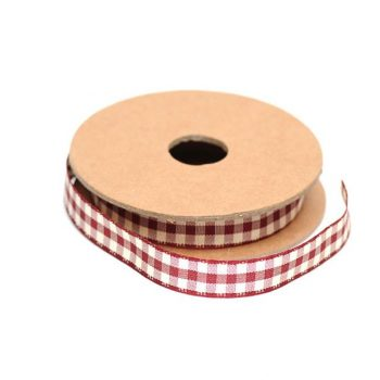 Gingham Floral Ribbon Red - 10m