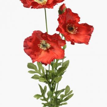 artificial poppy flowers and green leaf foliage
