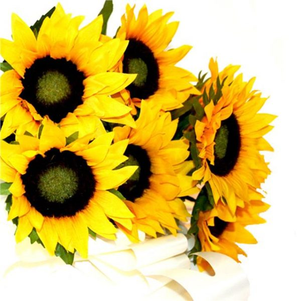 bright heads artificial sunflowers