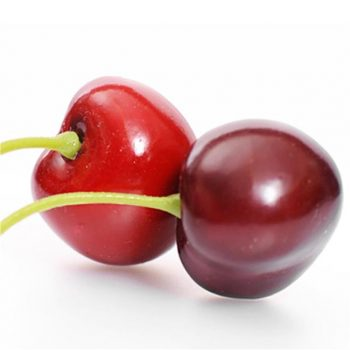 two artificial cherries with green stalks