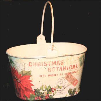 Christmas Poinsettia Oval Basket