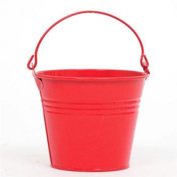 Red Metal Flower Bucket