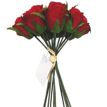 artificial bundle of roses with 13 red stems