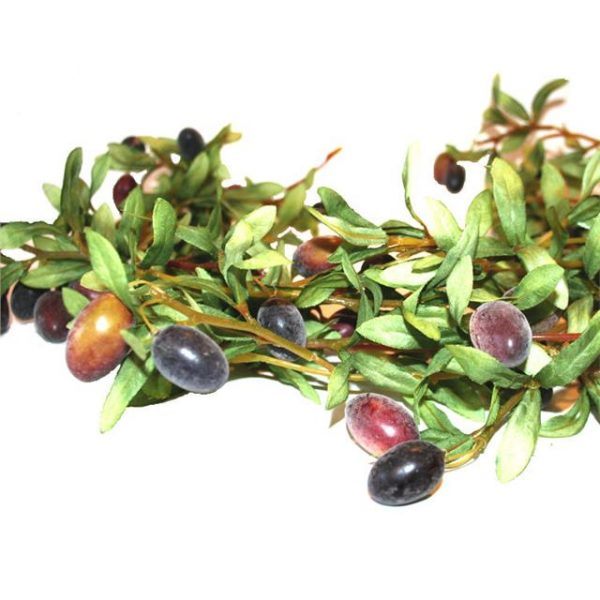 foliage on an artificial olive garland