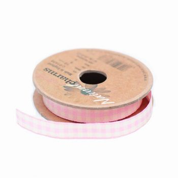 Gingham Floral Ribbon Baby Pink - 10m