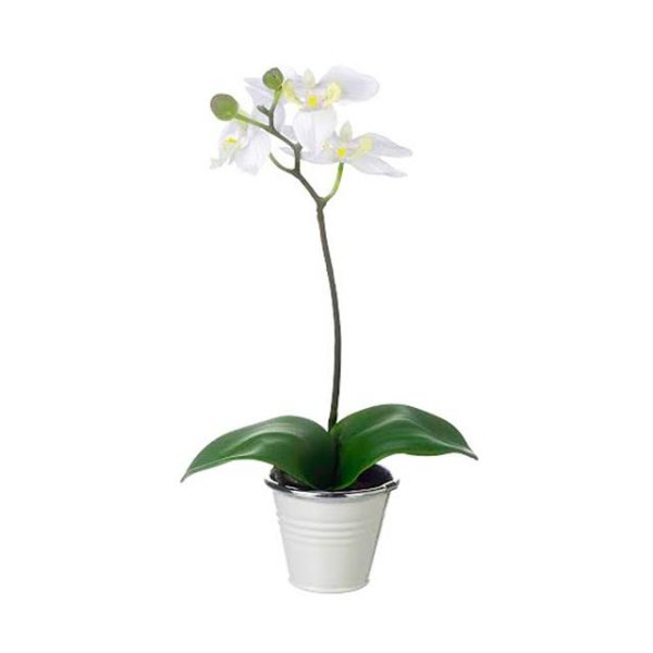Artificial Potted White Orchid Plant