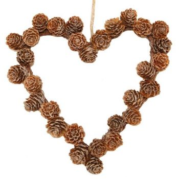 Artificial Christmas Rustic Pine Cone Heart Wreath