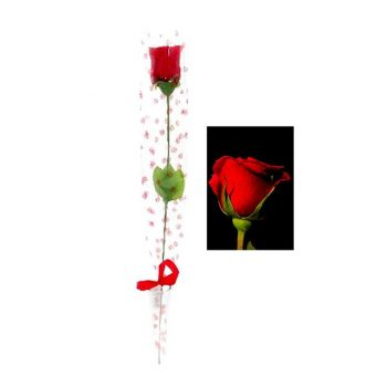 artificial single red rose in sleeve