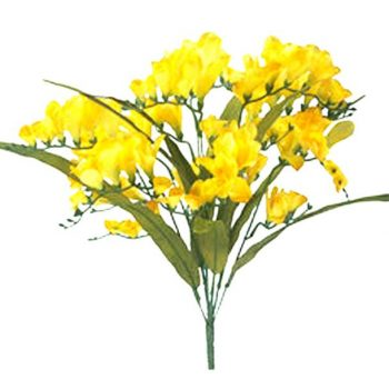 yellow artificial freesia bush