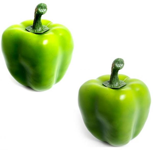 two artificial green peppers
