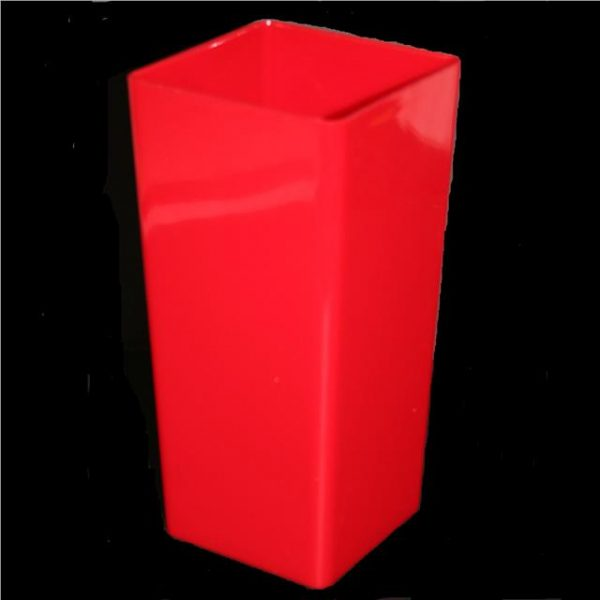 Piza Plastic Vase Planter 25cm Red Square Design