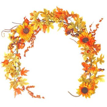 Artificial Maple Leaves Sunflower Garland