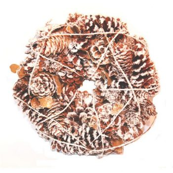 Pine Cone Christmas Wreath With Snow
