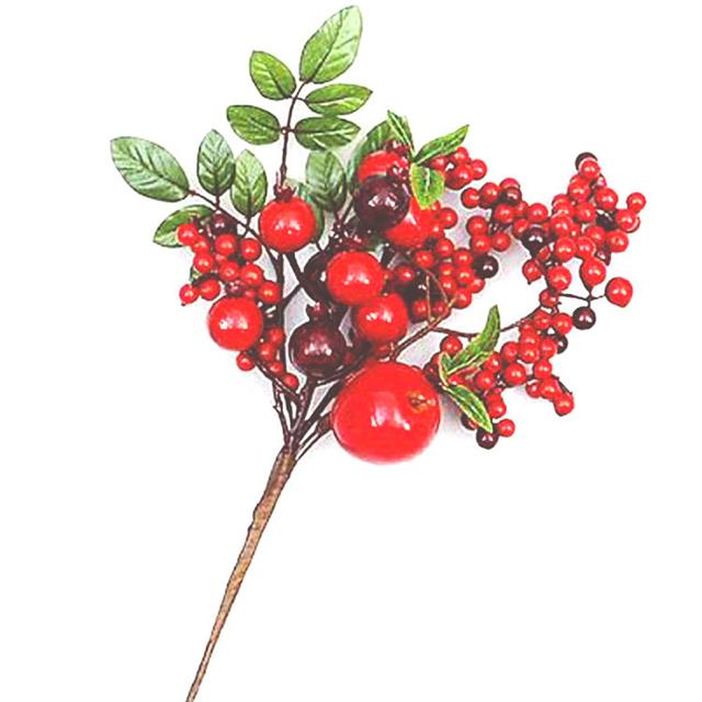 Christmas Sprays Uk.34cm Artificial Apple Red Berry Spray Christmas Decorations