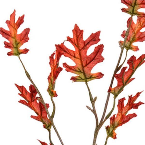 Artificial Harvest Oak Leaf Spray - Orange