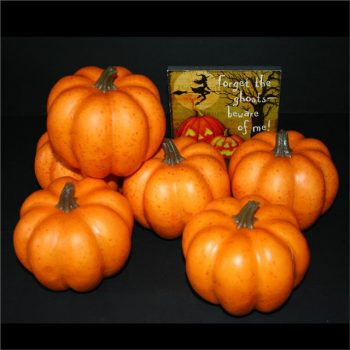 six small artificial pumpkins