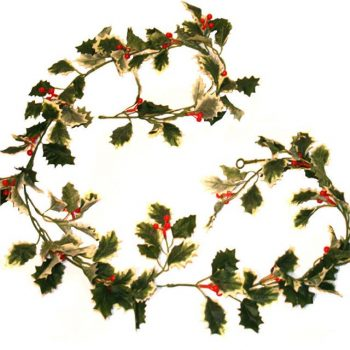 Artificial Holly Garland - Variegated Green