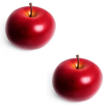 two artificial red apples