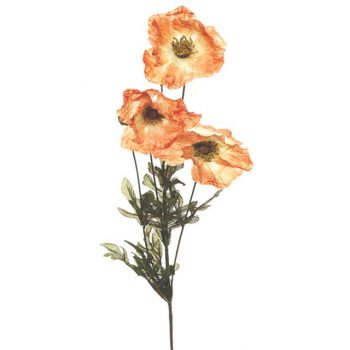 artificial amber poppy stem with green leaf foliage