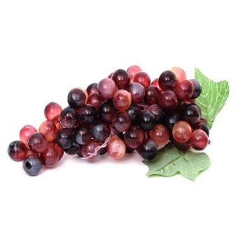 large bunch of red artificial grapes